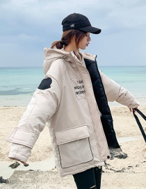 Fashion White Letter Printed Hooded Cotton Suit