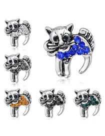 Fashion Silver Alloy Diamond Cat Brooch 6 Packs