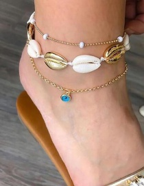 Fashion Gold Alloy Diamond-studded Woven Shell Anklet 3 Piece Set