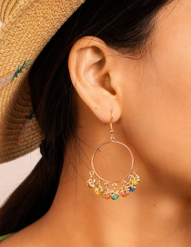 Fashion Color Geometric Alloy Round Wafer Beads Tassel Earrings