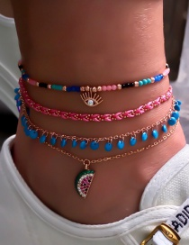 Fashion Color Braided Rope: Watermelon: Rice Beads: Diamond Eye Anklet: 4 Sets