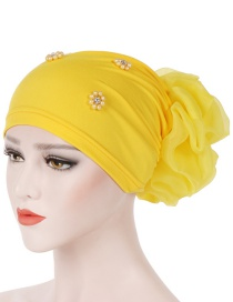Fashion Yellow Oversized With Flower Head Beaded Bonnet Cap