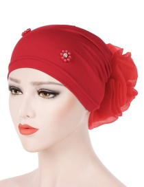 Fashion Red Oversized With Flower Head Beaded Bonnet Cap