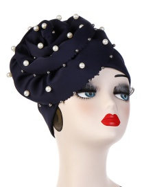 Fashion Black Oversized Flower Nailed Pearl Bonnet Cap
