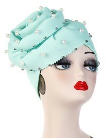 Fashion Mint Green Oversized Flower Nailed Pearl Bonnet Cap