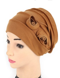 Fashion Khaki Cotton Folding Double Flower Baotou Cap
