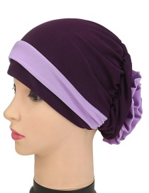 Fashion Dark Purple Two-color Flower Hooded Hat