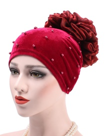 Fashion Red Wine Velvet Nails With Flower Baotou Cap