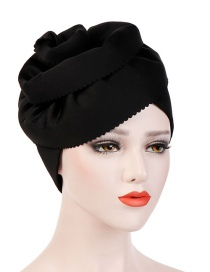 Fashion Black Space Cotton Super Large Flower Side Cut Flower Headband Cap