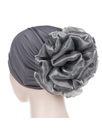 Fashion Dark Gray Big Flower Milk Silk Baotou Dish Flower Hat