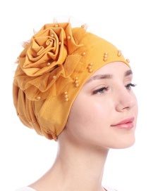 Fashion Turmeric Side Flower Mesh Gauze Lace Edging Beaded Head Cap Pure