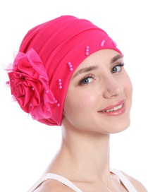 Fashion Rose Red Side Flower Mesh Gauze Lace Edging Beaded Head Cap Pure