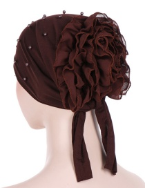 Fashion Dark Brown Panhua Beaded Large Flower Headscarf Cap
