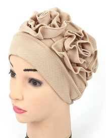 Fashion Beige Double Flower Baotou Cap