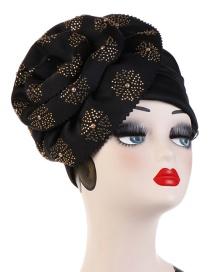 Fashion Black Hot Drilling Flower Flip Hood