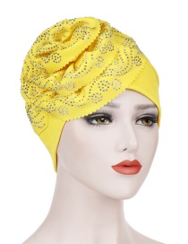 Fashion Yellow Wavy Cashew Flower Hot Bit Towel Cap