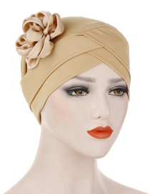 Fashion Khaki Milk-colored Side Flower Turban Cap