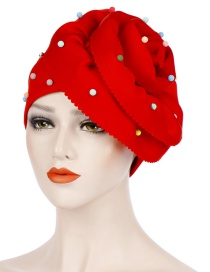 Fashion Red Beaded Large Flower Head Cap