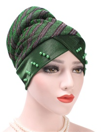 Fashion Green Colorblock Striped Beaded Headband Cap