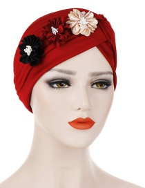 Fashion Wine Red Three Small Flower Pleated Headscarf Caps