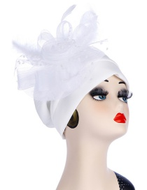 Fashion White Space Cotton Side Mesh Large Flower Headscarf Cap
