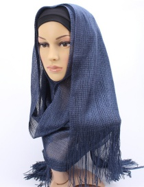 Fashion Navy Bright Silk Scarf With Headscarf