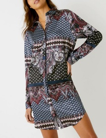 Fashion Color Printed Shirt Dress