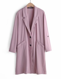 Fashion Pink Suit Collar Trench Coat