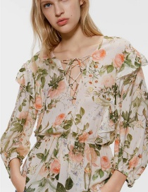 Fashion Color Flower Print Shirt