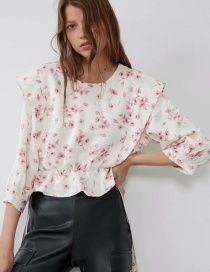 Fashion Creamy-white Bow Print Top