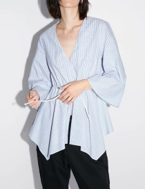 Fashion Blue Striped Blouse