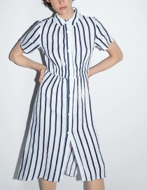 Fashion Amount Striped Linen Dress