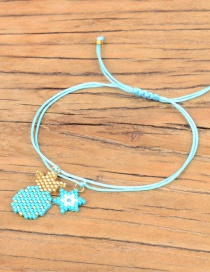 Fashion Blue Pineapple Stars Rice Beads Braided Bracelet