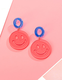 Fashion Watermelon Red S925 Silver Needle Contrast Color Smiley Transparent Acrylic Earrings
