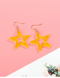 Fashion Yellow Pentagram Transparent Acrylic Earrings