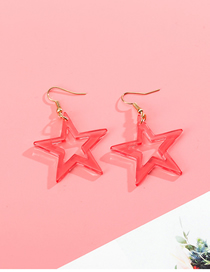 Fashion Watermelon Red Pentagram Transparent Acrylic Earrings