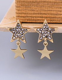 Fashion Gold Crystal Diamond Star S925 Sterling Silver Stud Earrings