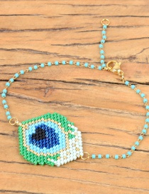 Fashion Green Eye Beaded Woven Necklace