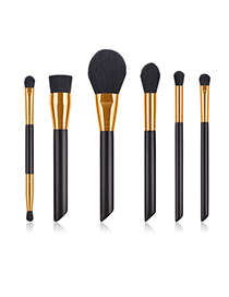 Fashion Black Gold 6 Contrast Color Pearl Handle Makeup Brushes