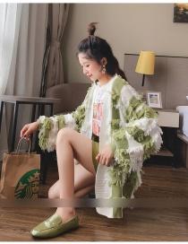 Fashion Green Fringed Plush Cardigan