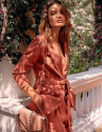 Fashion Rust Red Belt Buckle Suit