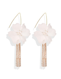 Fashion Gold Flower Rhinestone Tassel Earrings