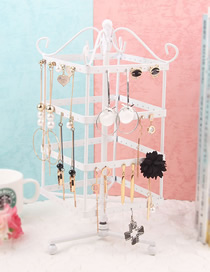 Fashion White Four-layer Square Rotatable Earrings Wrought Iron Display Stand