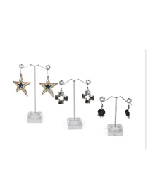 Fashion Large Transparent Earring Display Stand Metal Acrylic Three-piece