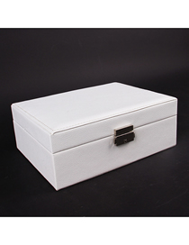 Fashion White Pu Leather Single Layer Double Drawer Jewelry Box