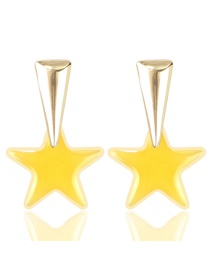 Fashion Yellow Transparent Acrylic Pentagram Earrings