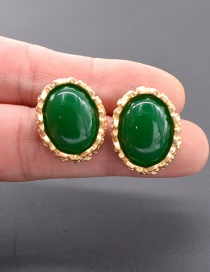Fashion Green Metal Geometric Earrings