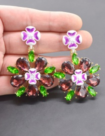 Fashion Gold Floral Drip Acrylic Flower Earrings