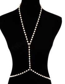 Fashion Golden Single Layer Body Chain Fringed Geometric Beaded Pearl Body Chain