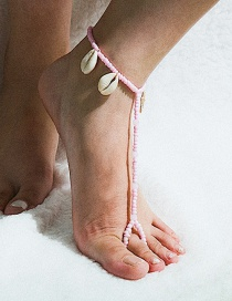 Fashion Pink Geometric Irregular Shell Starfish Tassels With Finger Anklets